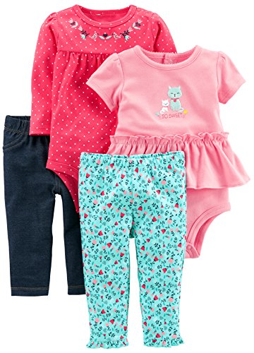 Simple Joys by Carter's Baby Girls' 4-Piece Bodysuit and Pant Set, Blue Floral/Pink Dot, 0-3 Months