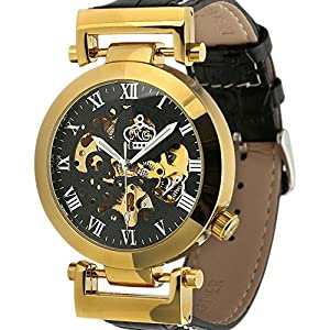Carrie Hughes Men's Automatic Mechanical Stainless Steel Leather Watch