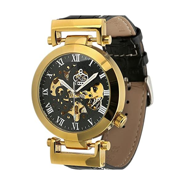 Carrie Hughes Men's Automatic Mechanical Stainless Steel Leather Watch 4