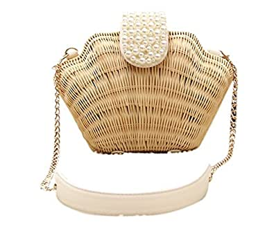 Bronze Times (TM)Womens Manmade Straw Pearl Shell Weave Purse Crossbody Bag (A-beige)