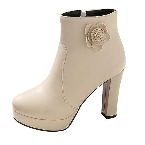 Logobeing Botines Mujer Tacones Zapatos Botas de Mujer Flores Botas con Cremallera Lateral Botines Cortos para