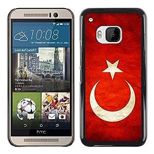 TopCaseStore / la caja del caucho duro de la cubierta de protección de la piel - Turkey Grunge Flag - HTC One M9