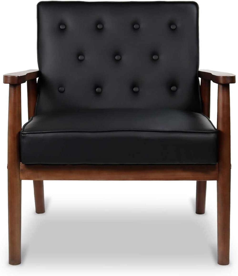 Mid-Century Retro Modern Solid Wood Armrest Accent Chair, Faux Leather Tufted Back Upholstered Lounge Chairs, Living Room Furniture (Black 8325)