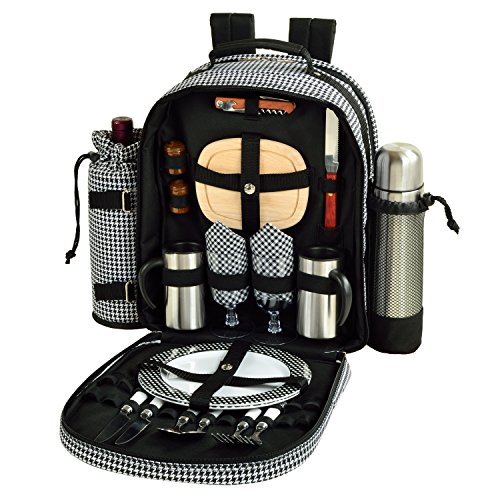 Coffee Picnic Backpack - Picnic at Ascot - Deluxe Equipped 2 Person Picnic Backpack with Coffee Service, Cooler & Insulated Wine Holder - Houndstooth