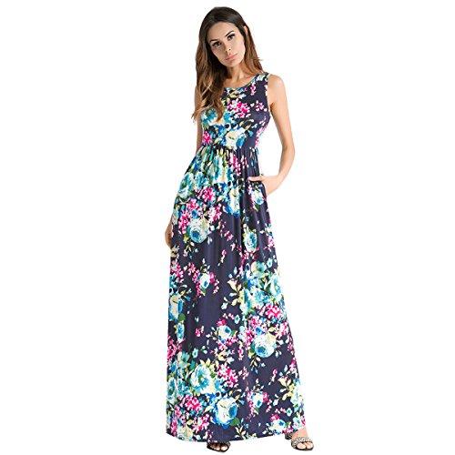 Europa Donne Stampa Le Grande Donna Senza Blue Da E Vestiti Dress America La Vest In Pendolo Abito Treasure Maniche Abiti qBtw051w