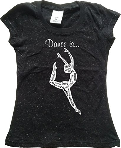Orange Arrow Youth Dance Apparel (M, Black Glit) - Dance Is..(Love, Emtion, Graceful,..) - Tap Glitter Shirt