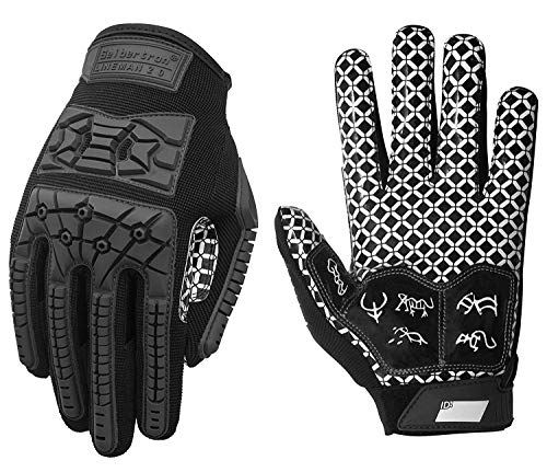 Seibertron Lineman 2.0 Padded Palm Football Receiver Full Finger Gloves, Flexible TPR Impact Protection Back of Hand Glove Youth Black S