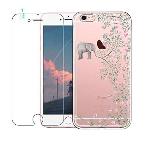 iPhone 6 / 6S Custadio con Vetro Temperato Screen Protector Film, Blossom01 ultra sottile in gel morbido TPU silicone custodia Cute Cartone per iPhone 6 / 6S Green Crocodile Elephant Flower