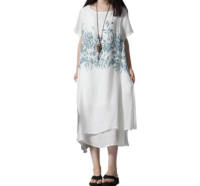 sito affidabile 15eab 8a818 OKSakady Maxi Vestito di Lino in Cotone da Donna, Abito Lungo Allentato  Stile Cinese Vintage