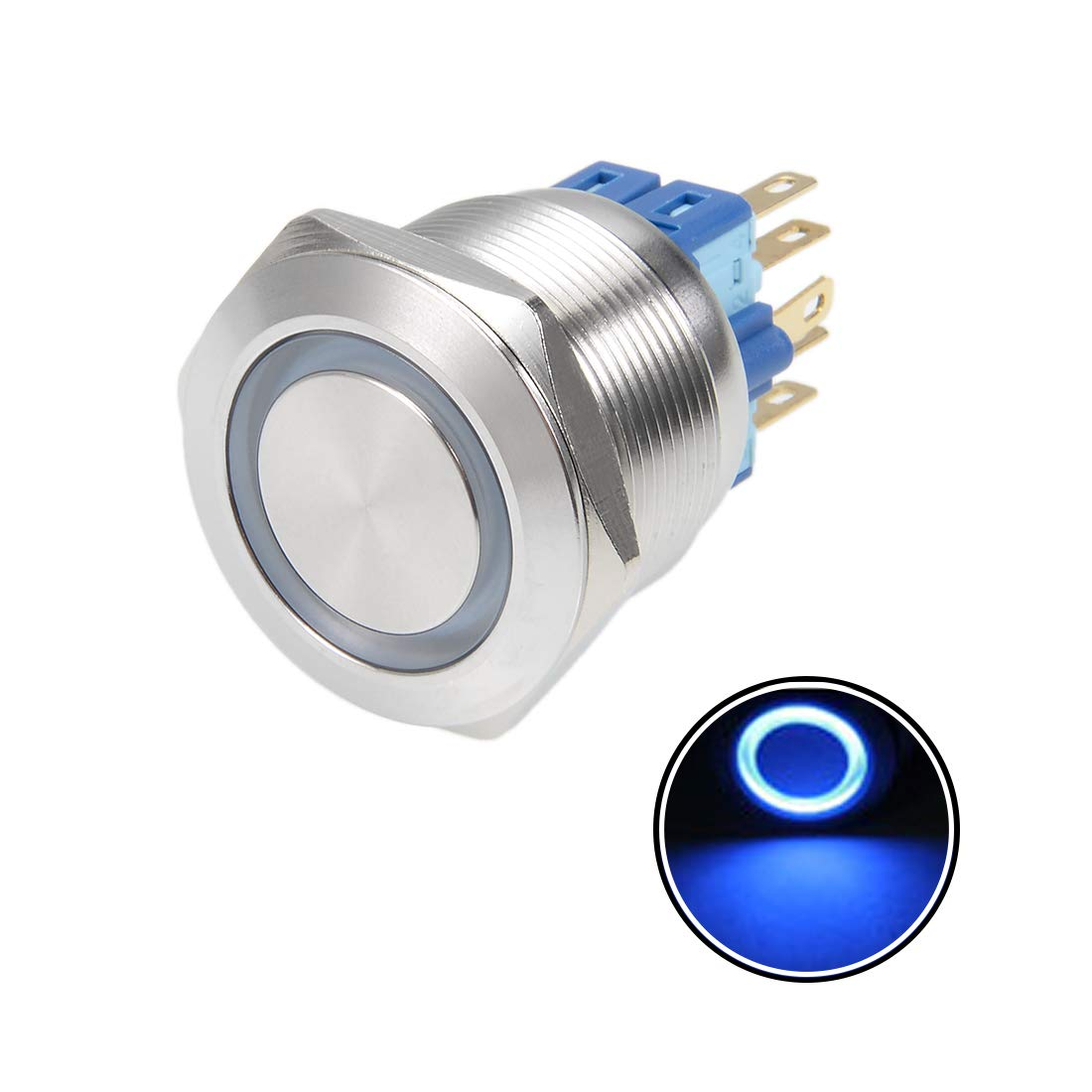 Momentary Push Button Switch 25mm Mounting Dia 5A 12V Blue LED Light Flat Head