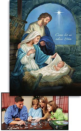 Nativity Scene Christmas Jigsaw Puzzle for Adults and Children (500 pieces) with 18x24in Image of the Holy Family from Michael Adam