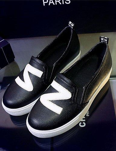 ZQ Zapatos de mujer - Plataforma - Plataforma / Creepers / Punta Redonda - Mocasines - Exterior / Vestido / Casual - Semicuero -Negro / Rojo , black-us6 / eu36 / uk4 / cn36 , black-us6 / eu36 / uk4 / red-us1.5 / eu31 / uk0.5 / cn30