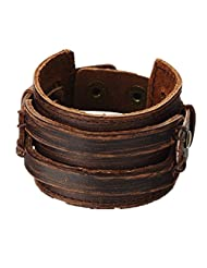 Jirong Antique Men's Brown Leather Cuff Bracelet, Leather Wrist Band Wristband Handcrafted Jewelry Sl2256