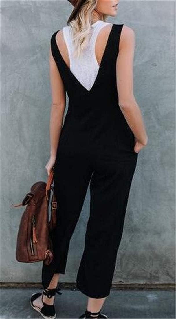 Pivaconis Womens Suspender Button Trim Jumpsuit Wide Leg Pants Overalls