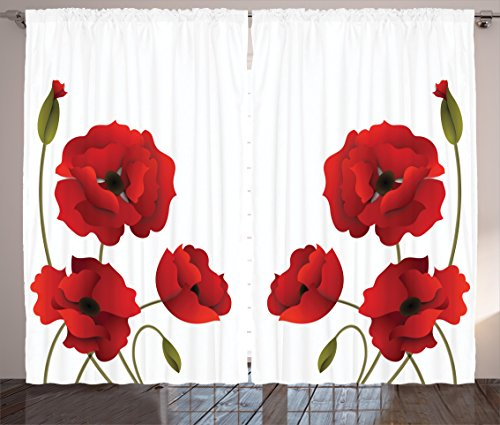 """Ambesonne Floral Curtains, Poppy Flowers Vivid Petals with Buds Pastoral Purity Mother Earth Nature Design, Living Room Bedroom Window Drapes 2 Panel Set, 108"""" X 90"""", Red Green"""