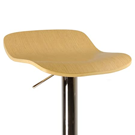 Winsome Kallie Air Lift Adjustable Stools and Natural Color Wood Veneer Seat with Metal Base, Set of 2