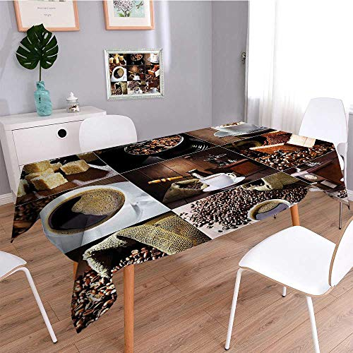 SCOCICI1588 Square Tablecloth of Coffee Mugs and Roasted Bean Bags Grinder Sugarcubes Collage Brown White Perfect for Spring, Summer, Indoor, Outdoor Picnics or Everyday Use-W50 x L102