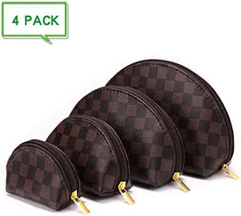 Luxury Checkered Make Up Bag Shell Shape Cosmetic Toiletry Travel Bags including 4 Size Bag (Brown)