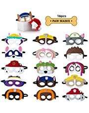 TEEHOME Paw Dog Patrol Masks Party Favors for Kid (16 Packs) Felt and Elastic - Paw Dog Patrol Birthday Party Supplies with 16 Different Types Perfect for Children