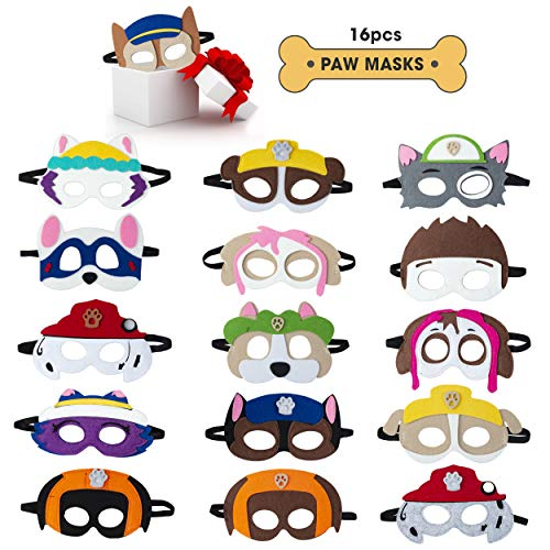 TEEHOME Paw Dog Patrol Masks Party Favors for Kid (16 Packs) Felt and Elastic - Paw Dog Patrol Birthday Party Supplies with 16 Different Types Perfect for Children -