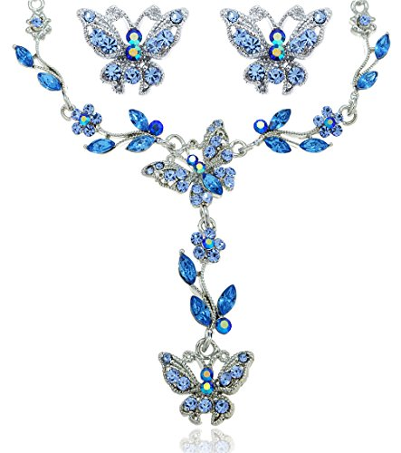 Blue Crystal Butterfly Rhinestone Flower Necklace and Earrings Jewelry Set [Bridal Jewelry] (Butterfly Costumes For Women)