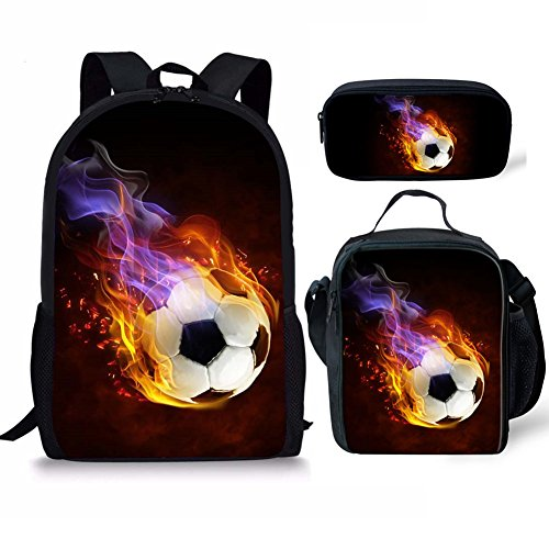 Fire Soccer Stylish Backpack Lunch Bags and Pencil Bag Polyester Durable Boys Schoolbag 3pcs School one set