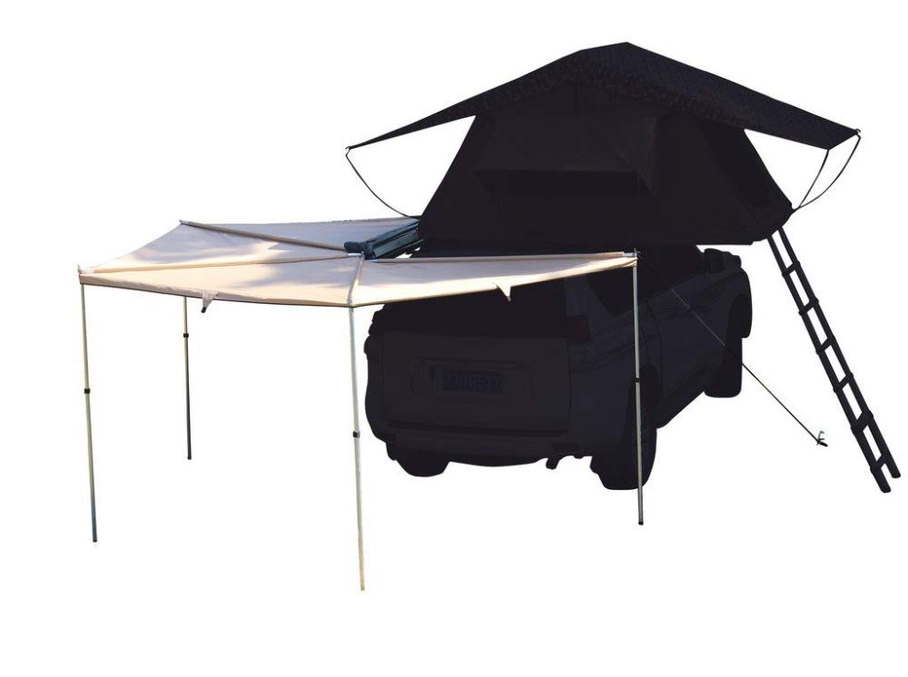 DANCHEL OUTDOOR 270 Degree Sector Shaped car Side foxwing Awning (Khaki, Dia. 8.2ft Left)