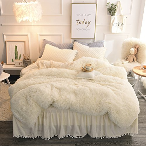 Fur Cover - LIFEREVO Luxury Plush Shaggy Duvet Cover Set (1 Faux Fur duvet cover + 1 Pompoms Fringe Pillow Sham) Solid, Zipper Closure (Twin, Light Beige)