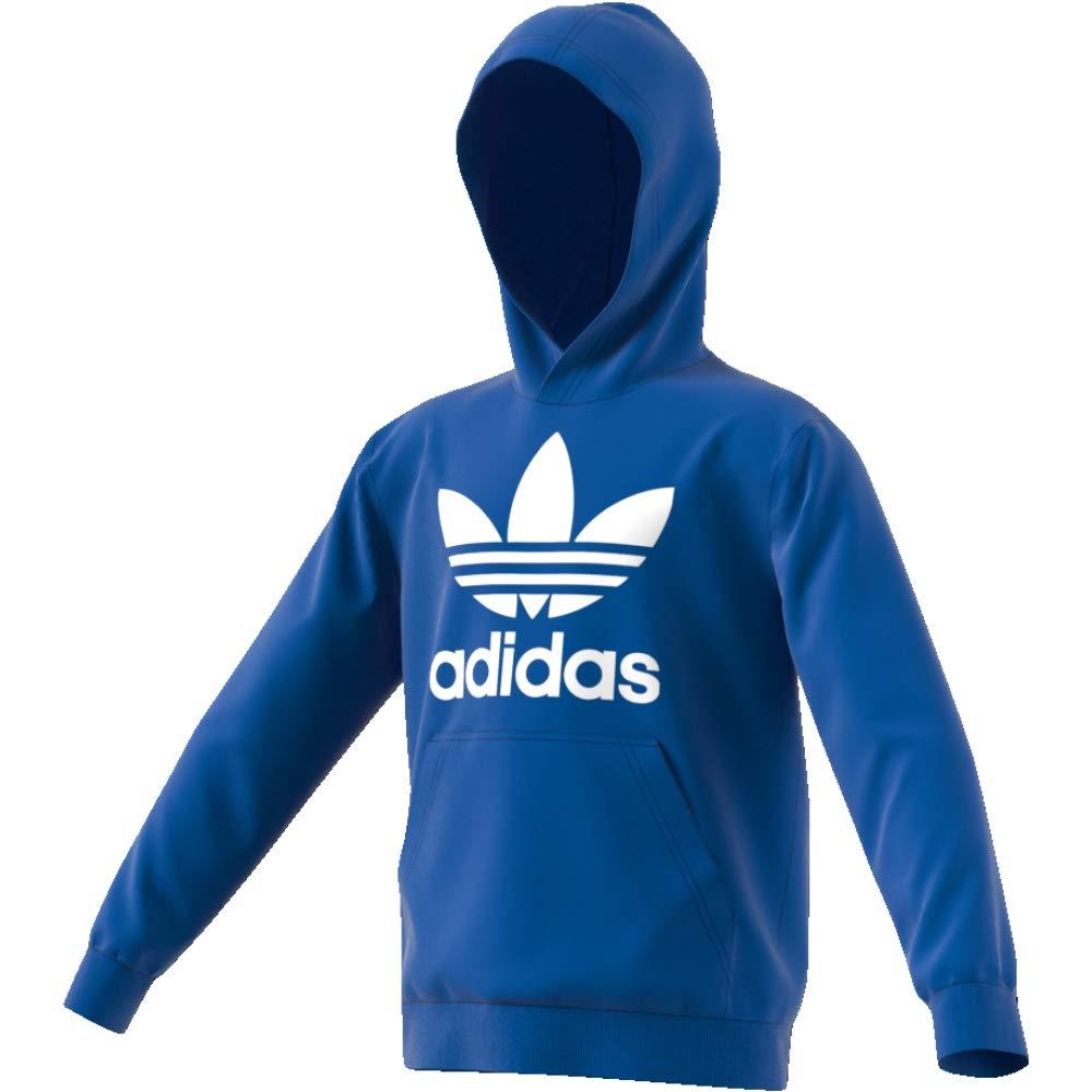 adidas J TRF HOODIE Felpa Unisex-Bambini 8-9 Anni Blu//Bianco