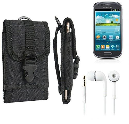 bolsa del cinturón / funda para Samsung Galaxy S3 Mini Value Edition, negro + Auriculares | caja del teléfono cubierta protectora bolso - K-S-Trade (TM)