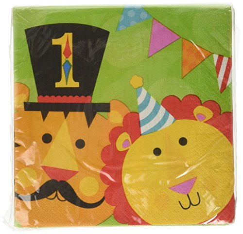 Fisher Price Circus 1st Birthday Party 2-Ply Luncheon Napkins Tableware, Paper, 6