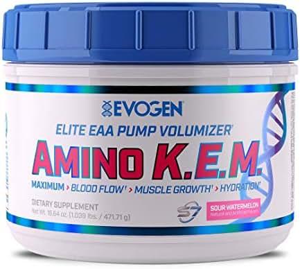 Evogen AminoKEM   Premium Essential Amino Acid, Nitric Oxide, Betaine anhydrous, S7, Recovery, volumizing, Pump Catalyst   Sour Watermelon