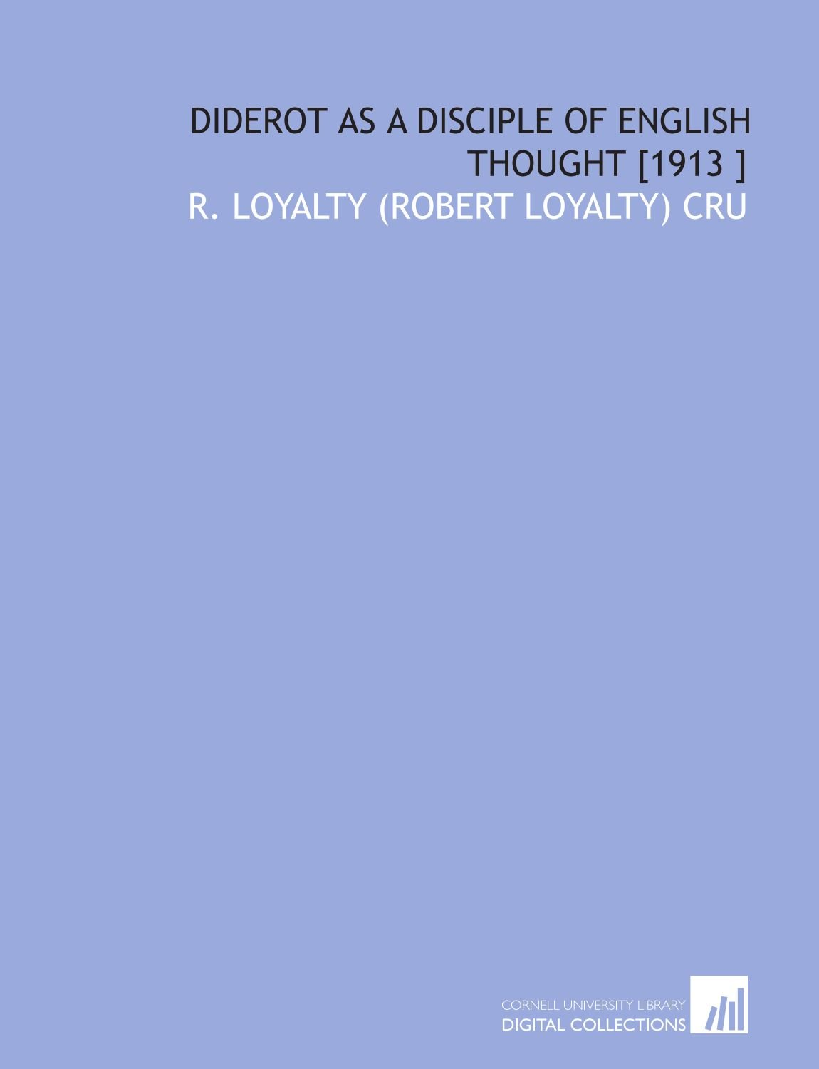 Read Online Diderot as a Disciple of English Thought [1913 ] pdf