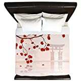 CafePress - Pretty Cherry Blossom Against A Japanese Backgroun - King Duvet Cover, Printed Comforter Cover, Unique Bedding, Luxe