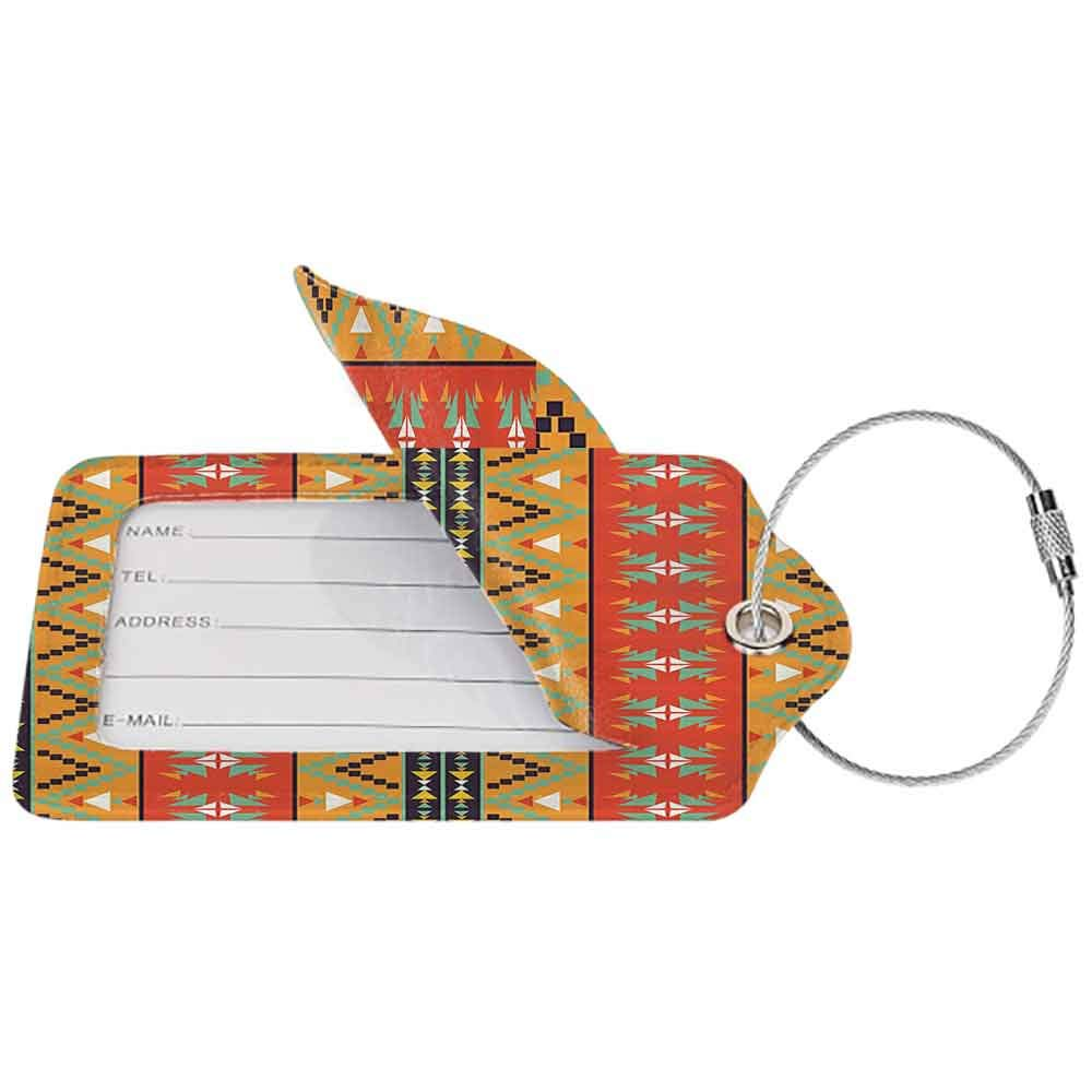 Personalized luggage tag Abstract Tribal Decor Aztec Motifs with Zigzags Geometric Design Pattern Easy to carry Orange Red and Fern Green W2.7 x L4.6