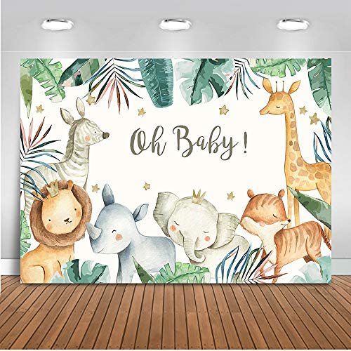 Mocsicka Safari Baby Shower Backdrop Jungle Baby Shower Background 7x5ft Vinyl Boy Safari Baby Shower Banner Backdrops -