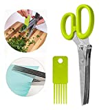 PengMei Culinary Herb Scissors Stainless Steel 5 Blades Sharp Kitchen Shears, Salad, Slices, Chops, Cuts etc..Faster, Save Time, Cleaning Comb, Dishwasher Safe