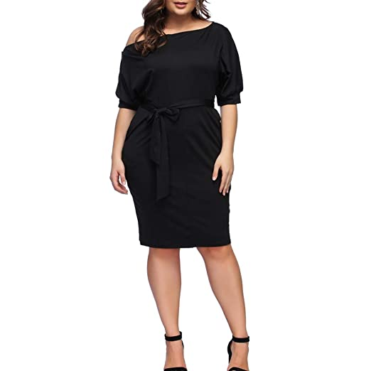 HOOYON Plus Size Dress Women\'s Off Shoulder Short/Long Sleeve Bodycon Mini  Dress