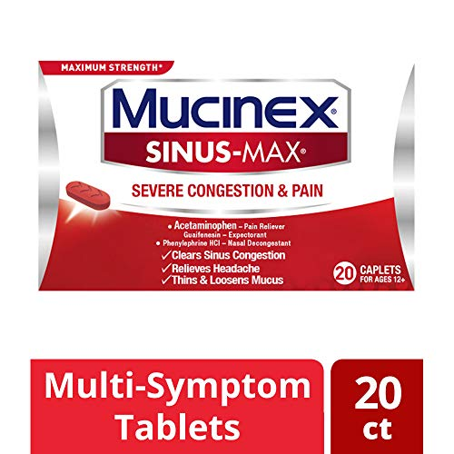 Mucinex Sinus-Max Severe Congestion & Pain Relief Maximum Strength Caplets- Sinus Decongestant, Headache Relief & Loosens Mucus, Expectorant w/ Acetaminophen, Phenylephrine & Guaifenesin, 20 Count (Best Medicine For Sinus Congestion And Cough)