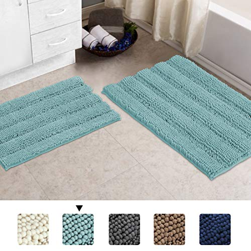 Luxury Chenille Bathroom Rug Mat Set 2 Piece Shaggy Rugs for Bedroom Mat Rug Machine Washable Entry Rug Blue Non Slip Microfiber Shag Floor Mat Dry Fast Waterproof Bath Mat, Duck Eggshell Blue