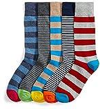 Goodthreads Men's 5-Pack Patterned Socks, Assorted Stripes, Shoe Size: 8-12