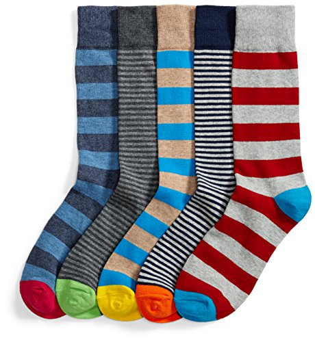 (Goodthreads Men's 5-Pack Patterned Socks, Assorted Stripes, Shoe Size: 8-12)
