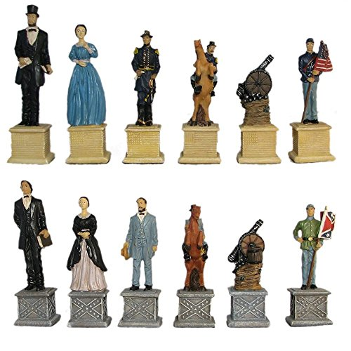 Hand Painted Polystone Chess Pieces - 4 1/2
