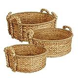 Wald Imports Natural Seagrass &  Water Hyacinth  Round Decorative Storage Basket, Set of 3