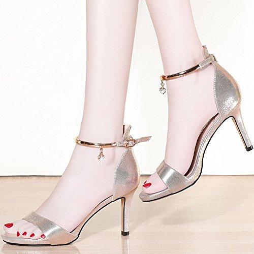 Jqdyl High Heels Heels Heels Neue High Heels Fein Mit Offener Zehe Mit Damen Einzel Schuhe Golden 2d3489