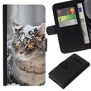 American Curl Shorthair British Cat Snow - la tarjeta de Crédito Slots PU Funda de cuero Monedero caso cubierta de piel Samsung Galaxy Core Prime