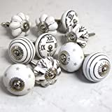 Set of 10 ceramic grey white black silver vintage shabby chic clocks stars striped flowers mushroom cupboard cabinet door knobs by Pushka Knobs