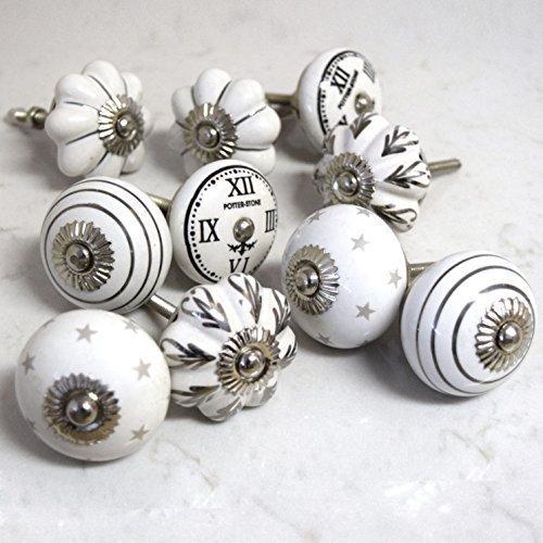 Set of 10 ceramic grey white black silver vintage shabby chic clocks stars striped flowers mushroom cupboard cabinet door knobs by Pushka Knobs