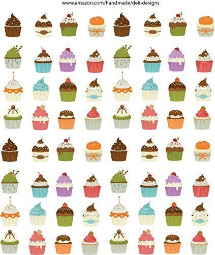 Cupcake stickers, adorable, 64 each on one sheet. Great for scrapbook elements, planning or just decorating.