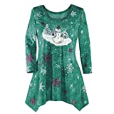 WOCACHI Final Clear Out Christmas Womens Blouses Drape Hem Sweatshirt Pullover Xmas Tops Shirts Black Friday Cyber Monday Winter Bottoming Shirt Reindeer Crew Neck Snowman (Green, Small)